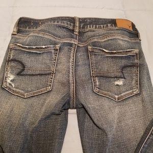 AE super stretch distressed skinny jeans